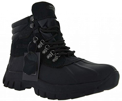 Kingshow Men's 0705 Winter Snow Boots Shoes Leather Waterproof Black (12)