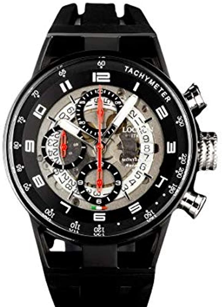 Locman montecristo, orologio cronografo da uomo, cassa in acciaio e titanio e pvd nero, cinturino in silicone 0516K22S-BKTKRDSK