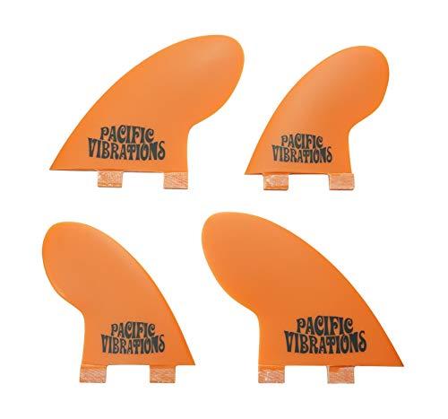 PACIFIC VIBRATIONS FCS Base Compressor Surfboard 4 Quad fins Set Fiberglass Resin Orange
