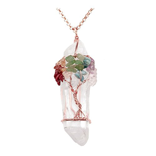 Jovivi Chakra Gemstone Tree of Life Wire Wrapped Natural Clear Quartz & 7 Tumbled Stones Healing Crystal Point Pendant Necklace