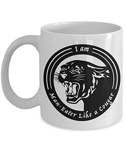 N\A aza de Puma - Soy devorador de Hombres como un Puma - Taza de café de cerámica de pequeño Desierto Aniversario de cumpleaños Relleno de Calcetines - Cazador Esposa Marido Compañ