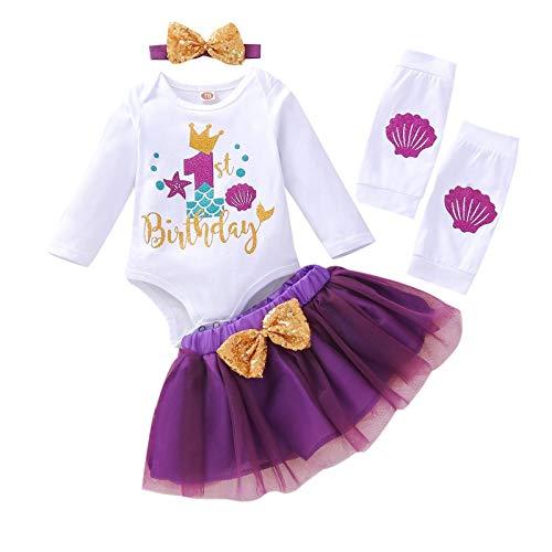 FYMNSI Conjunto de 4 piezas de ropa para recién nacido, diseño de sirenita de primer cumpleaños, de algodón y manga larga + falda de tutú + diadema + calentadores de piernas