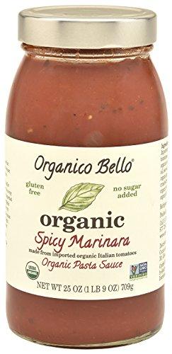 Organico Bello - Organic Gourmet Pasta Sauce - Spicy Marinara - 25oz (Pack of 6) - Non GMO, Whole 30 Approved, Gluten Free