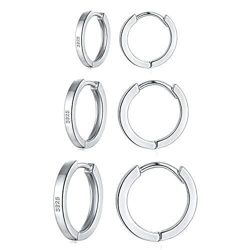 wynn's Pendientes de aro de plata de ley 925 para mujer, unisex, pequeños aretes de aro para dormir, pendientes de cartílago con aro de plata para mujeres, hombres y niñas (8+10+12 mm), Plata,