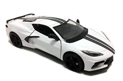 2020 Chevrolet Corvette C8 Stingray White with Gray Stripes 1/24 Diecast Model Car by Motormax 79360