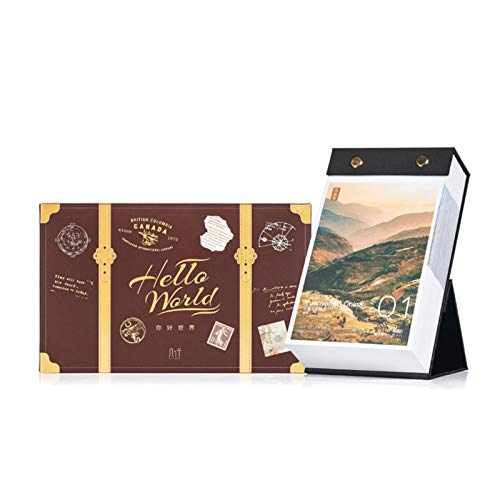JJH Travel Daily Desk Calendar 2021, Vintage Suitcase Box, Scenery Standing Calendars Day to Day, Tearable Paper, 11.9 x 19 CM