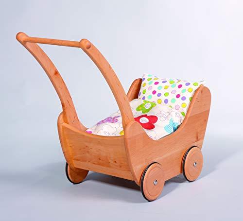 Glückskäfer 521925 Puppenwagen Erle gewachst mit 2-teiligem Bettzeug