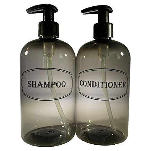 Bottiful Home16 oz Gray Shampoo and Conditioner Shower Soap Dispensers2 Refillable Empty PET Plastic Pump Bottle Shower ContainersPrinted DesignWaterproof RustFree ClogFree DripFree