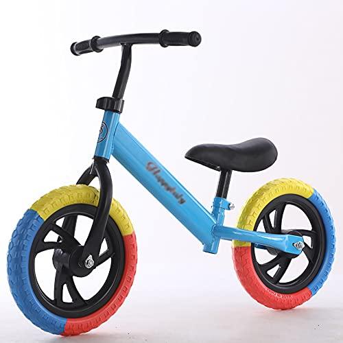 XJMPYGR 12'Niños sin Pedal, Bicicleta de Bicicleta de Bicicleta de Bicicleta de Bastidor de Acero al Carbono, para Jinetes Principiantes y niños pequeños de 1 a 7 años (Llantas de Colores),Azul