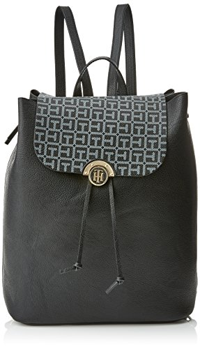 Tommy Hilfiger Effortless Novelty Backpack Print, Zaino Donna, Multicolore (Black/Logo), 1.5x8.5x10.7 cm (W x H x L)