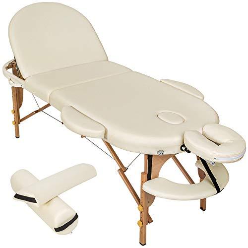 TecTake Massageliege 3 Zonen oval inkl. 2 Lagerungsrollen + Tasche - diverse Farben - (Beige | Nr. 400193)