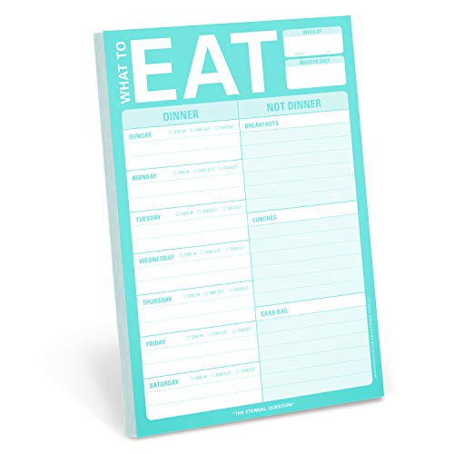 Knock Knock What To Eat Pad (Mint Green), Meal Planning Note Pad, 6 x 9-inches