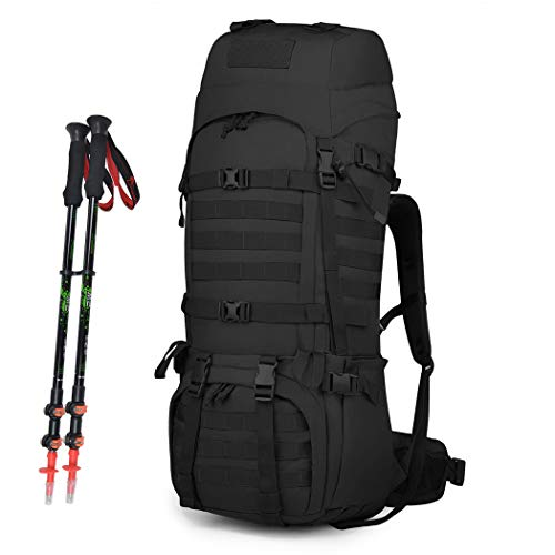 Mardingtop Tactical backpack 65L Large Hiking Camping Military Rucksack patrol pack with Rain Cover for Outdoor Trekking Mountaineering Hunting