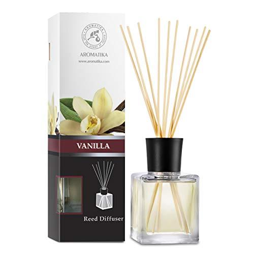 AROMATIKA trust the power of nature Diffuseur Parfum de Vanille 200ml - Naturel Fragrance Fraîche - Kit Diffuseur Cadeau avec 8 Bâtonnets de Bambou