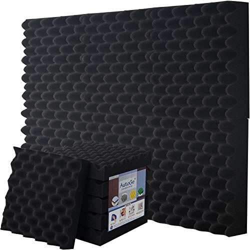 LINECY 防音シート 壁 吸音材 防音材 消音 騒音 防音 吸音対策 室内装飾 楽器 ウレタンフォーム ウェッジ 吸音材質ポリウレタン (黒, 12個入, 250*250*50mm)