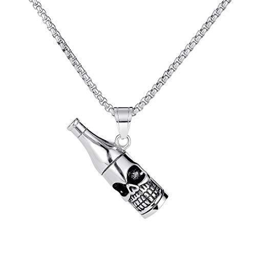 ATEIELLI Herren Kette Bier Skelett Anhänger Edelstahl Halskette 55cm C102 (Silber)