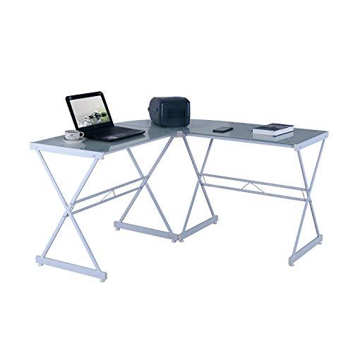Techni Mobili L-Shaped Glass Computer Desk, White