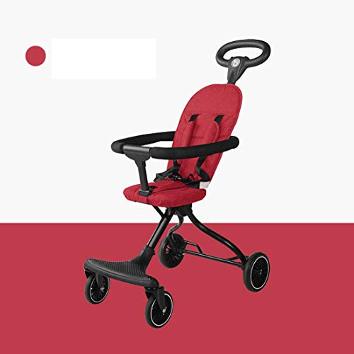 Mfnyp Expedition Jogger Stroller, Lightweight Easy Fold Compact Travel Stroller, Baby Handle Umbrella Stroller, Pram Carriage, Stable Steel Frame Pushchair,Red