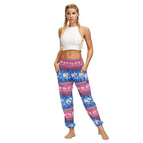 Cintura Alta Pantalón De Yoga Mujer,Pantalones Deportivos De Verano con Estampado De Elefante Tradicional De Estilo Étnico Pantalones De Yoga Casuales-Yci113_One_Size