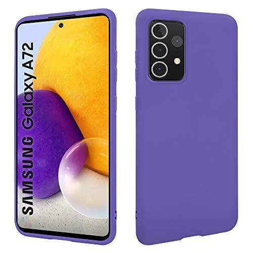 HSP - Custodia protettiva per Samsung Galaxy A72, in silicone TPU, adatta per ricarica induttiva, antigraffio, antiurto, superficie opaca, su misura, morbida e sottile, colore: Lilla