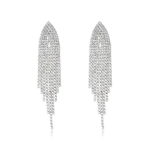 RIAH FASHION Sparkly Rhinestone Chandelier Drop Statement Earrings - Bridal Wedding Crystal Cubic Dangles Cascade, Teardrop, Fringe Tassel, Waterfall Duster (Rhinestone Fringe Duster - Silver)