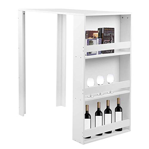 Table de bar en bois avec armoire latérale à 3 compartiments, blanc, table de bar, table de petit-déjeuner