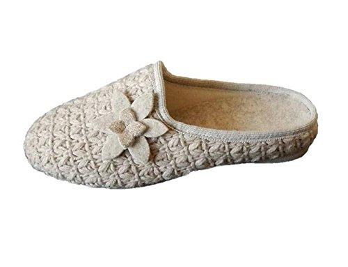 HOELTZhaus Hausschuhe Wolle beige Strickoptik Blume Weite H (39)