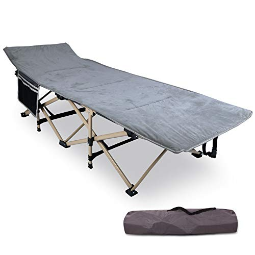 REDCAMP Folding Camping Cots for Adults with Mattress Pad, Soft and Comfortable for Outdoor Indoor Office Sleeping, Portable Heavy Duty Cots 500 Pounds, Grey (with Pad Topper)