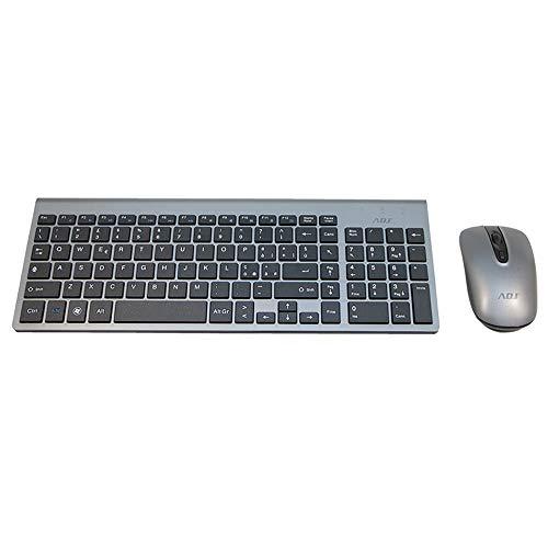 ADJ Platinum KW10 Set Tastiera Multimediale e Mouse Wireless, Layout Italiano QWERTY, per PC Laptop Notebook Windows, Tasti Silenziosi, Senza Fili, 102 Tasti, Mouse Ergonomico 1600 DPI, Silver Nero