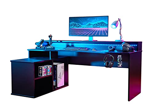 RestRelax - Alpha Gaming Desk UK's #1 Gaming Desk With LED Lights 200CM x 91CM x 125.5CM Computer Desk Workstation For Large PC Or Home Office Desk The Perfect L Shaped Office Desk