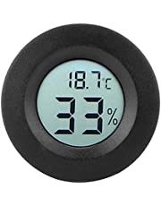 Termómetro de Higrómetro de Habitación, Medidor De Temperatura de Humedad de Lcd Digital Incorporado Mini Circular Interior para Guardería De Oficina en Casa(Negro)
