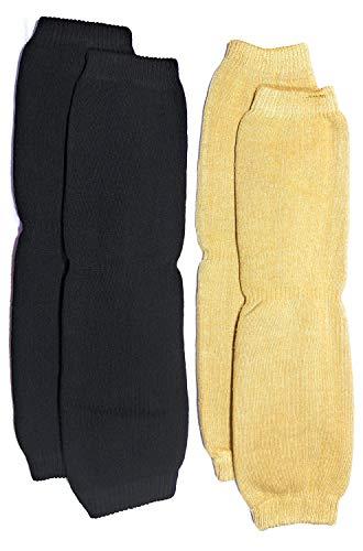 Cotson Unisex Woolen Knee Warmer Winter Protector Knee Cap - (Multicolor, Pack of 2 Pairs) Black