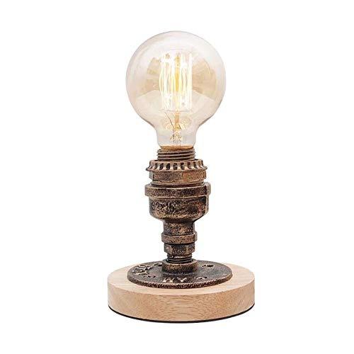 Liangsujiantd Flexo Led Escritorio, Sencilla lámpara de escritorio, retro de la personalidad de madera Base del tubo de agua lámpara de escritorio, Motent Industrial Moho del hierro Mesa de luz, lámpa