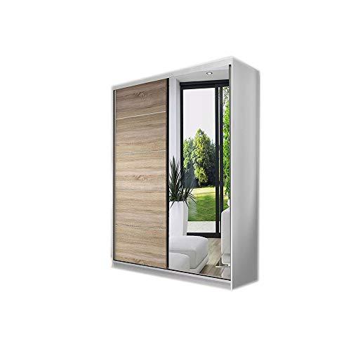 MOEBLO Kleiderschrank Schwebetürenschrank mit Spiegel 2-türig Schrank mit Einlegeböden und Kleiderstange Gaderobe Schiebtüren BxHxT 120x200x61 NOAH05 (Weiß+Sonoma)