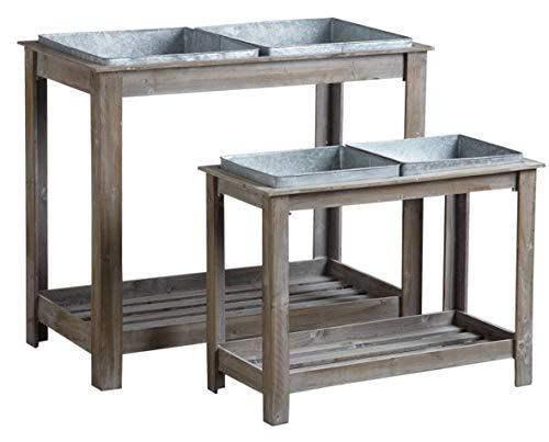 Carré potagers surélevés sur pieds en bois et métal série de 2