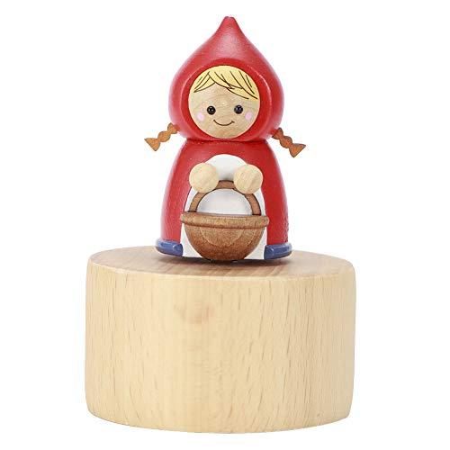 nobrands Musiklåda mini söt tecknad djurfigur trä musiklåda unik konst varor för gåva hemdekoration (rödhus)
