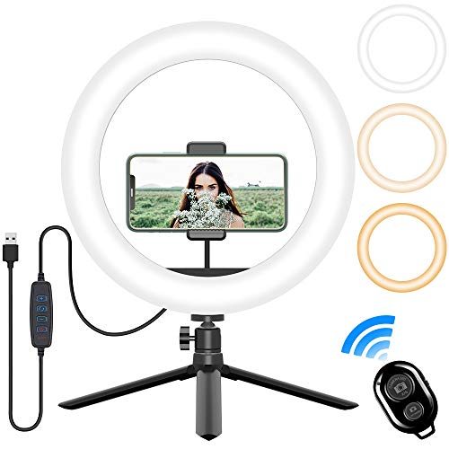 10''LED Desk Makeup Selfie Ring Light, Dimmable 3 Light Modes 10 Brightness with Tripod Stand &Phone Holder, Circle Light for Laptop/Video Conferencing/Zoom Call Meeting/Live Streaming/YouTube Video