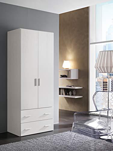 InHouse srls Armadio in Legno, 2 Ante + 2 cassetti, Color Bianco Frassinato, Mis. H 211 x L 82,6 x P 53,3 cm