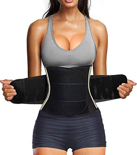Bingrong Figurformend Bauchweggürtel Neopren Fitness Body Shaper Sport Fitnessgürtel Abnehmen Schwitzgürtel extra stark Sauna- & Schwitzeffekt Sanduhr Figurformer mit Klettverschluss, Grau, M