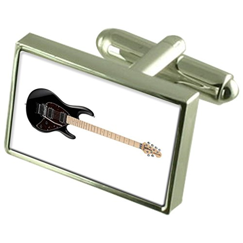 Select Gifts Guitarra eléctrica Gemelos Crystal Clip de Corbata Bar Box Set...