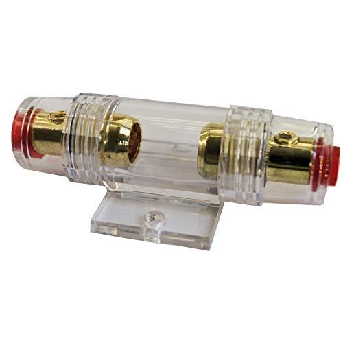 tomzz Audio 5800-004 AGU Sicherungshalter transparent Kabel bis 25qmm, vergoldet, 50A Sicherung