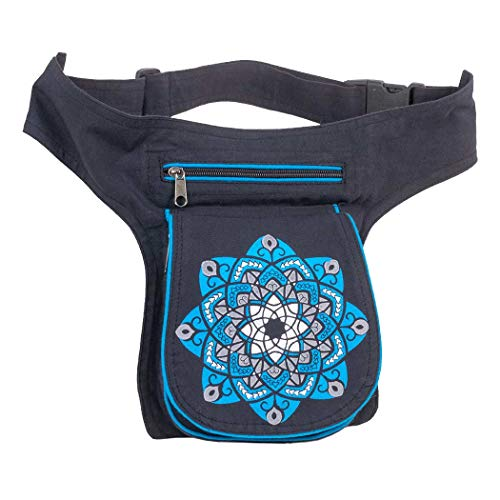 Riñonera Lateral Hippie Artesanal (Azul)