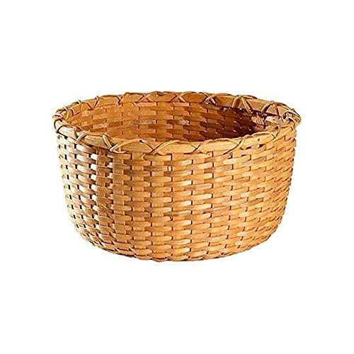 ZXN RTU Gran regalo Hadewoven - Cesta redonda de madera, bandeja de mimbre para alimentos, soporte de almacenamiento para comedor (tamaño mediano)