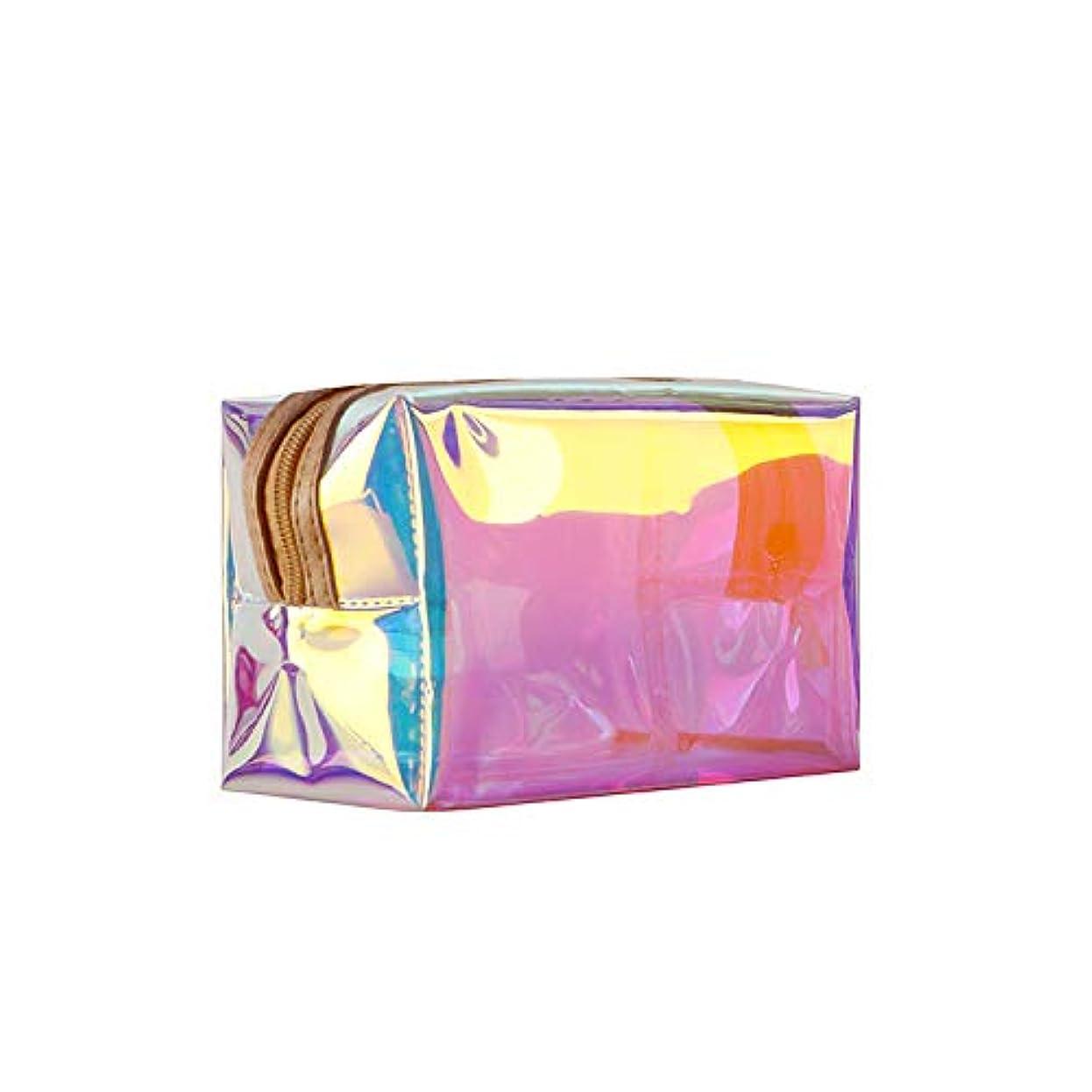 ふざけた家限りなくホーム朵 メイクポーチ 化粧バッグ オーロラカラー レーザー 透明バッグ 防水 収納携帯用 おしゃれ コスメポーチ たっぷり収納 旅行 便利 大容量 超軽量