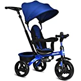 INFANS Kids Tricycle, 4 in 1 Stroll Trike with Adjustable Push Handle, Removable Canopy, Retractable Foot Plate, Lockable Pedal, Detachable Guardrail, Suitable for 10 Months to 5 Years (Blue)