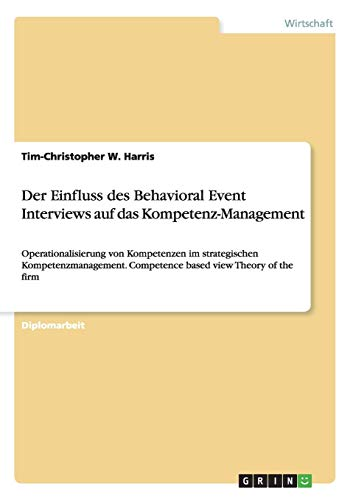 Der Einfluss des Behavioral Event Interviews auf das Kompetenz-Management: Operationalisierung von Kompetenzen im strategischen Kompetenzmanagement. Competence based view Theory of the firm