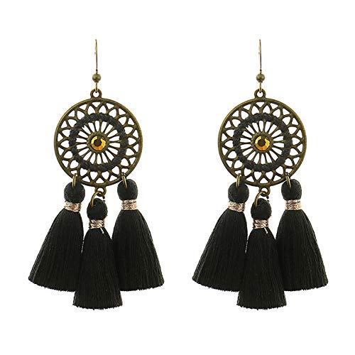 Ruby569y Pendientes colgantes para mujeres y niñas, 1 par de pendientes de gota de estilo bohemio, joyería de boda hecha a mano con flecos para fiestas, color negro