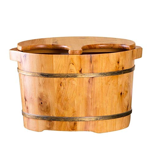 Baibao Pediluvio Foot Tub con tapa, pie bañera de madera hidromasaje Benna for el pediluvio, masaje, Spa, Sauna, Familia acupuntura madera Point Massage Foot Tub