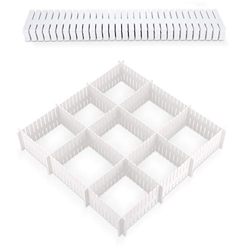 12 Piezas Separadores de Cajones DIY Organizador Cajones Plástico Separador de Armario Divisores Cajones de Rejilla Ajustables para Ropa Interior Calcetines Cinturón Suministros de Oficina, Blanco