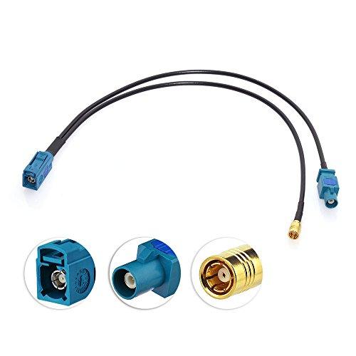 Eightwood Dab Antenne Splitter SMB Autoradio Antenne Splitter Fakra Z Mâle à Fakra Z Femelle Câble Pigtail RG174 12inch 30cm pour Réception Radio Numérique